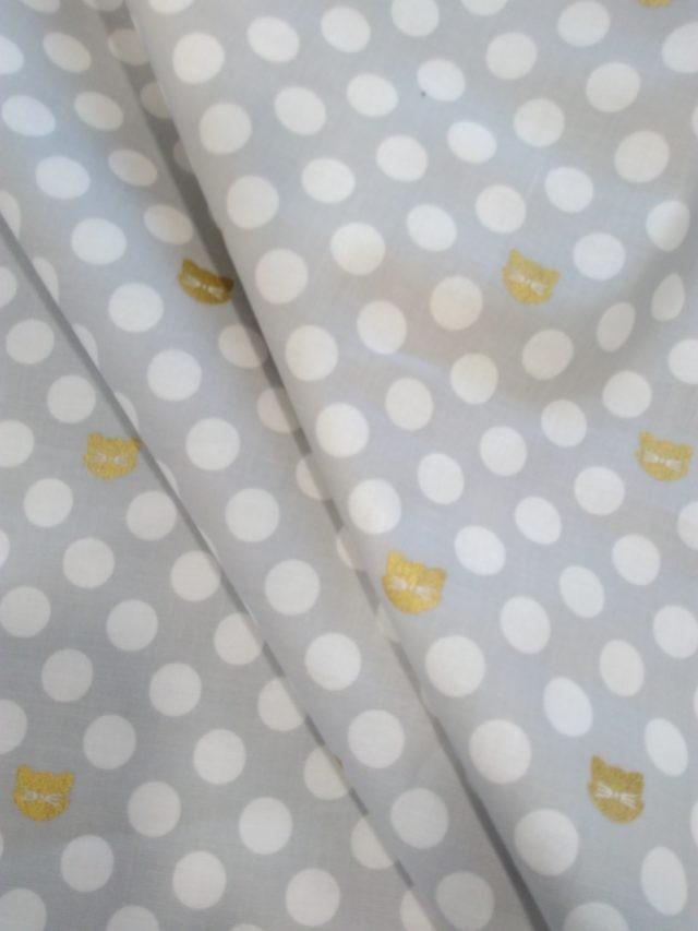 Tissu coton Gold Cats grey dots