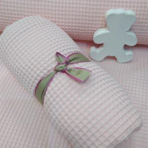Tissu nid d'abeille rose poudré