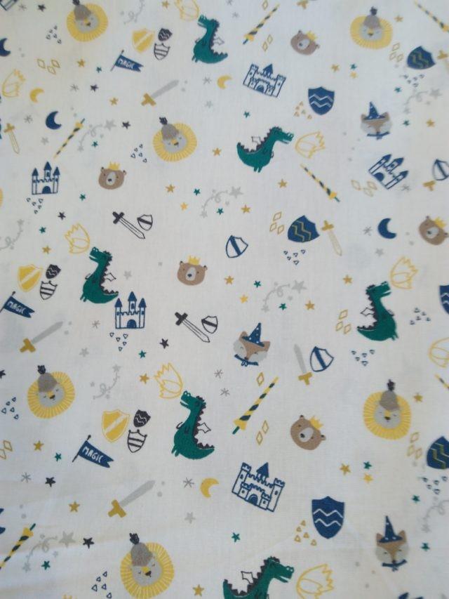 Tissu coton Poppy Dino's and the castle