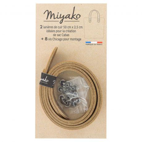 2 Anses de sac cabas Miyako en cuir pré-percée Camel 3