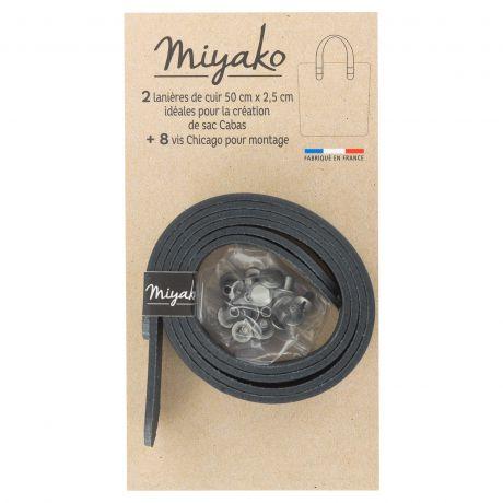 2 Anses de sac cabas Miyako en cuir pré-percée Noir 3