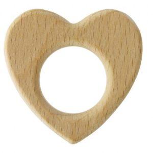 Anneau de dentition bébé en bois cœur