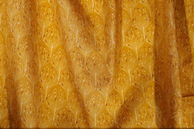 Popeline tissu bio Paon doré 1