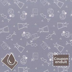 TISSU COUPON ENDUIT FROU-FROU I LOVE COUTURE ATELIER 70X35CM MYRTILLE