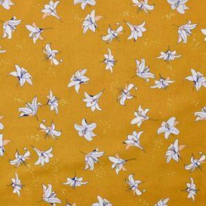 Popeline tissu bio : Lys jaune moutarde (x 10cm)