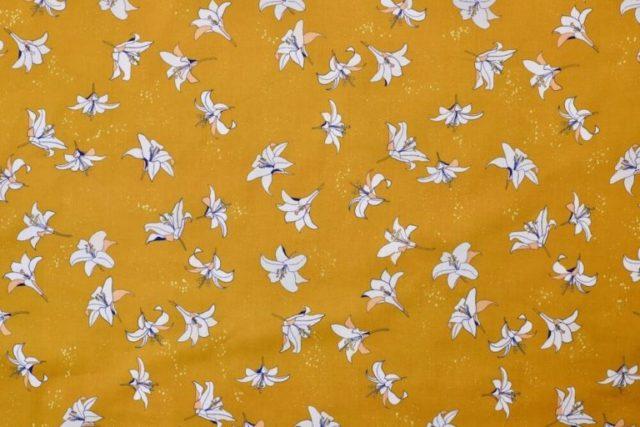 tissu-bio-popeline-imprimé-coton-biologique-fleur-jaune-moutarde-Mars-ELLE-2