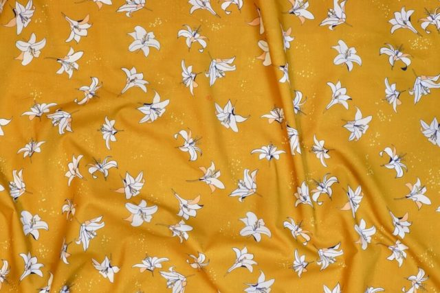 tissu-bio-popeline-imprimé-fleur-jaune-moutarde-Mars-ELLE