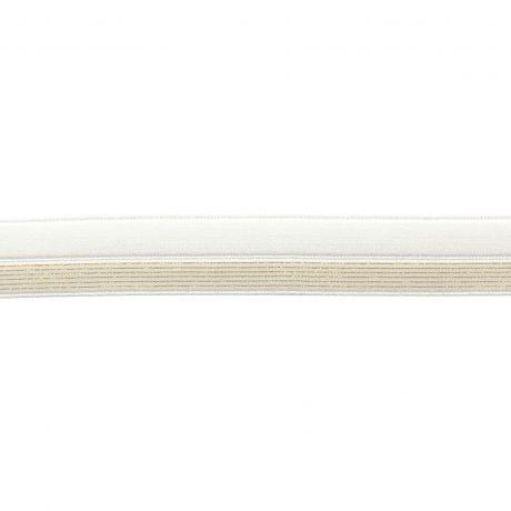 Bordure élastique blanc rayé lurex doré 17mm