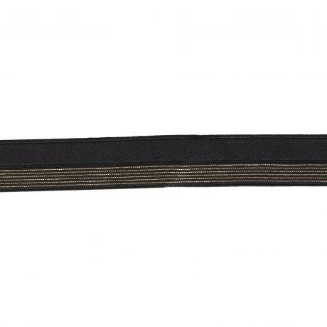Bordure élastique noir rayé lurex doré 17mm