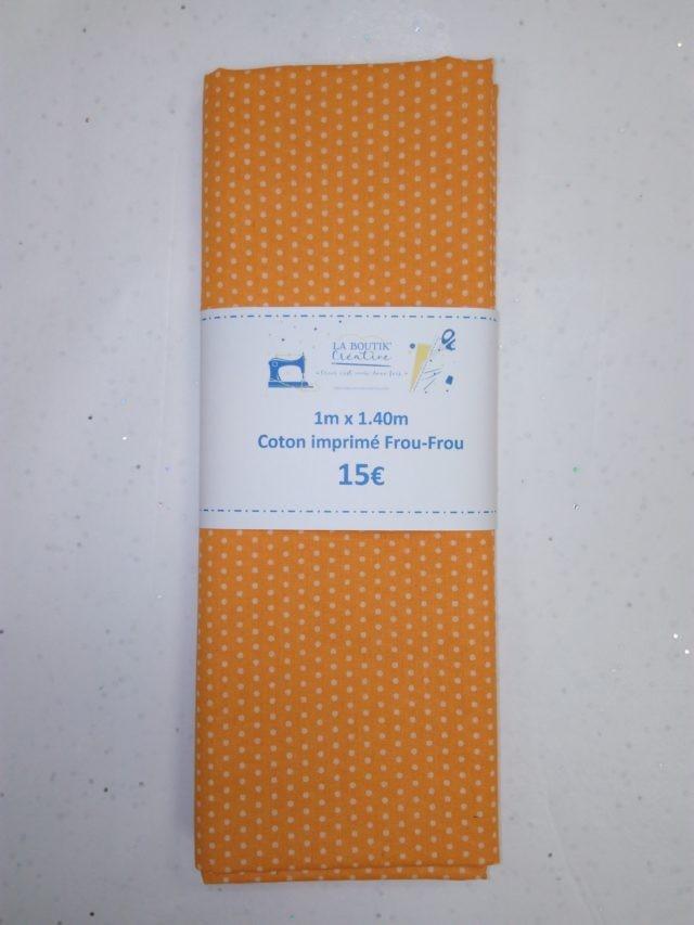 Coupon de tissu FrouFrou orange à pois