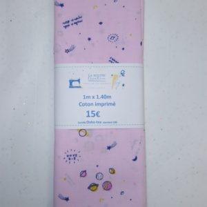Coupon de tissu coton Frou-Frou Les comètes roses