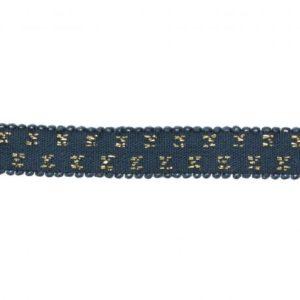 Elastique bleu jeans pois lurex doré 10 mm