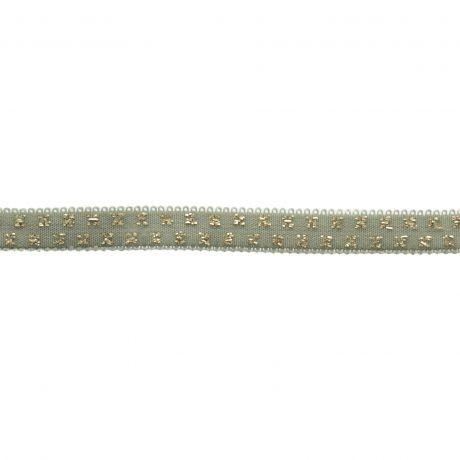Elastique céladon pois lurex doré 10 mm