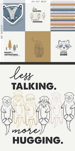 Panneau tissu less talking more Hugging