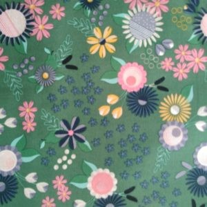 Tissu coton Peace & Love vert laize 110cm (x10cm)
