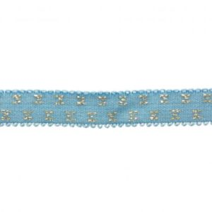 Elastique bleu  pois lurex doré 10 mm
