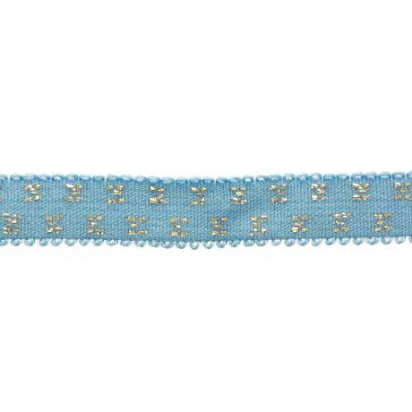 Elastique bleu pois lurex doré 10 mm détails
