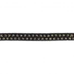 Elastique noir pois lurex doré 10 mm