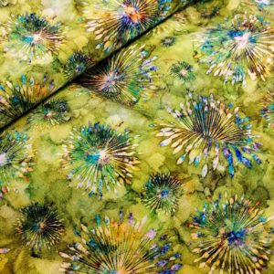 Tissu coton green fireworks laize 110cm