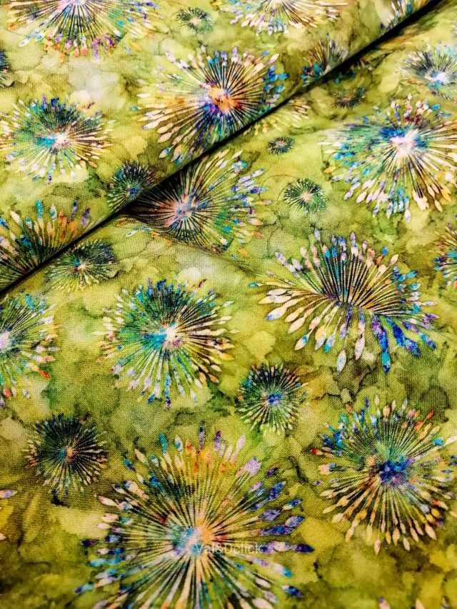 Tissu coton Green Fireworks détail