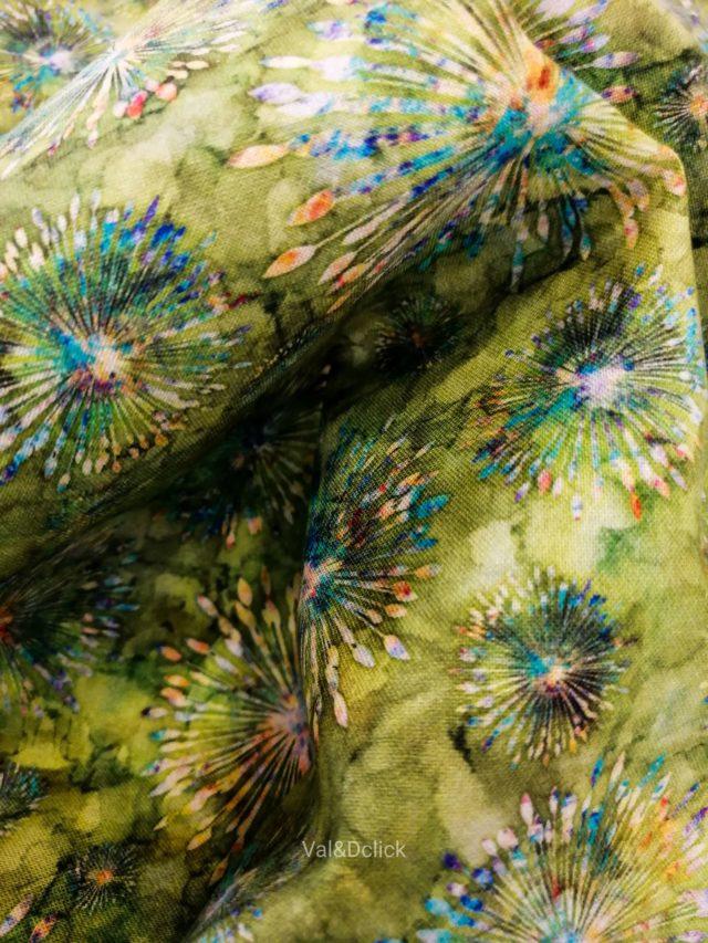 Tissu coton Green Fireworks détail 2