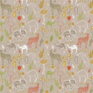 Tissu coton Let's go on safari laize 150cm (x10cm)