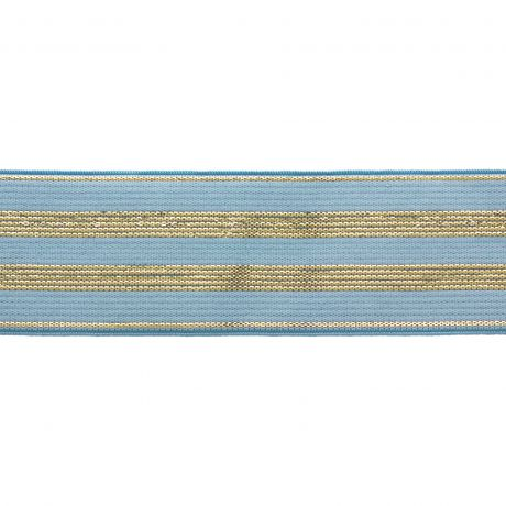 Elastique bleu rayures lurex or 30 mm d