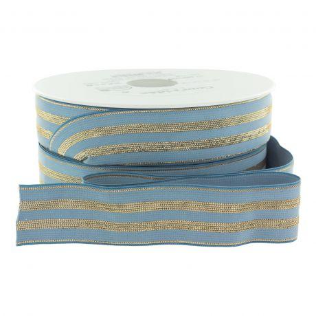 Elastique bleu rayures lurex or 30 mm