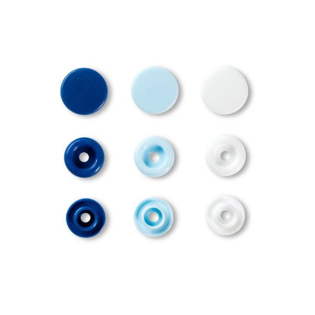 LOVE BOUTON PRES. PLAST Bleu BLlanc Bleu CL 12MM b