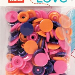 Pressions plastiques 12mm Prym Love assortiment orange fuchia violet