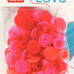 Pressions plastiques 12mm Prym Love assortiment Rouge
