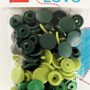 Pressions plastiques 12mm Prym Love assortiment Vert