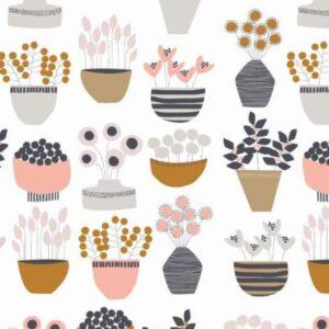 Tissu coton Les fleurs d'automne en pot laize 110cm (x10cm)