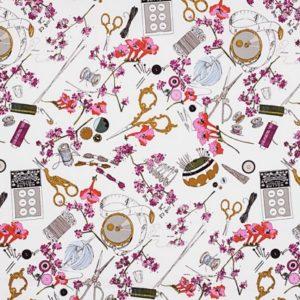 Tissu thème couture gothique laize 110cm (x 10cm)