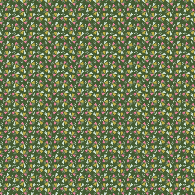 Tissu coton sweet little leaves - green