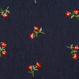Tissu jean brodé (x10cm)