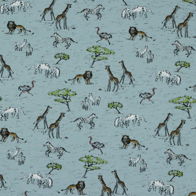 Tissu jersey Safari in Africa fond bleu végétal