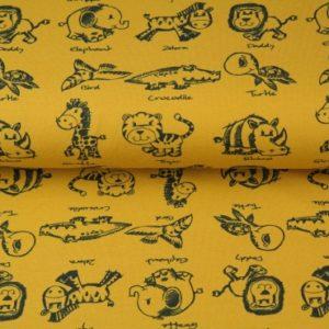 Tissu coton Les animaux de la savane col moutarde