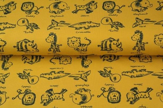 tissu coton Stenzo les zanimaux de la savane col moutarde