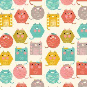 Tissu coton Cool for cats laize 110cm (x10cm)