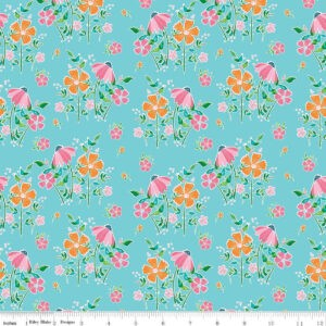 Tissu coton champs de fleurs sur fond bleu Laize 115cm (x 10cm)
