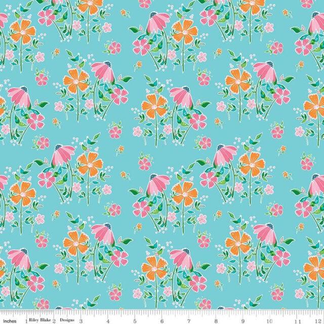 Tissu coton Champs de fleurs -BLUE