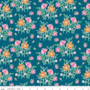 Tissu coton champs de fleurs sur fond Bleu intense Laize 115cm (x 10cm)