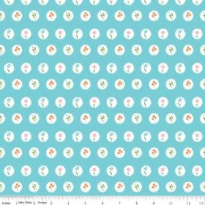 Tissu coton Fleurs en médaillon sur fond bleu Laize 115cm (x 10cm)