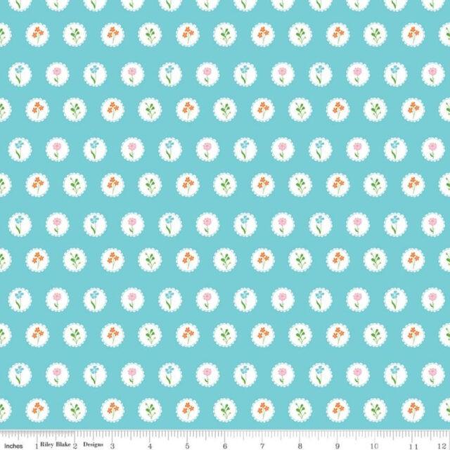 Tissu coton Fleurs en médaillon BLUE
