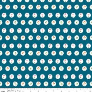 Tissu coton Fleurs en médaillon fond Bleu intense Laize 115cm (x 10cm)