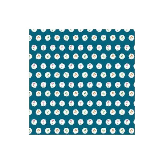 Tissu coton Fleurs en médaillon fond bleu intense 3846