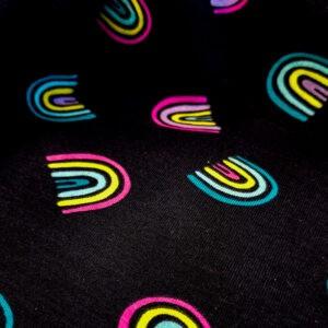 Tissu jersey Phosphorescent Arc en ciel (x10cm)