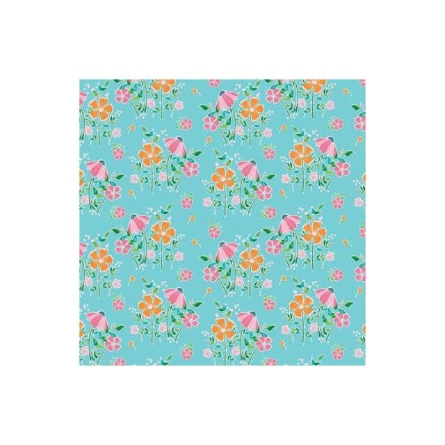 tissu coton Champs de fleurs dur fond bleu
