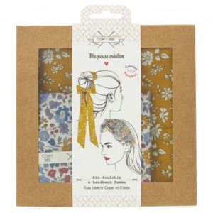 Kit foulchie et headband en Liberty Capel et d'anjo